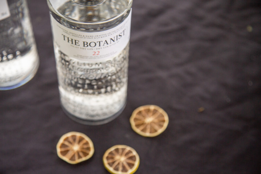 A bottle of Botanist Gin with Lemon Slices for the Winner of the Whiskey Wisemen Charity Tournament at Westwood Plateau Golf Club