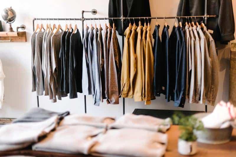 A rack of Anian wool shirts, Anian, Modern Melton, Recycled Wool, EcoLuxLifestyle, Paul Wong, Helen Siwak, Vancouver, BC, YVR, Vancity