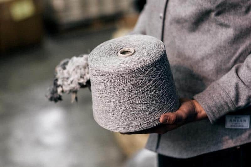 A large spool of recycled wool, Anian, Modern Melton, Recycled Wool, EcoLuxLifestyle, Paul Wong, Helen Siwak, Vancouver, BC, YVR, Vancity