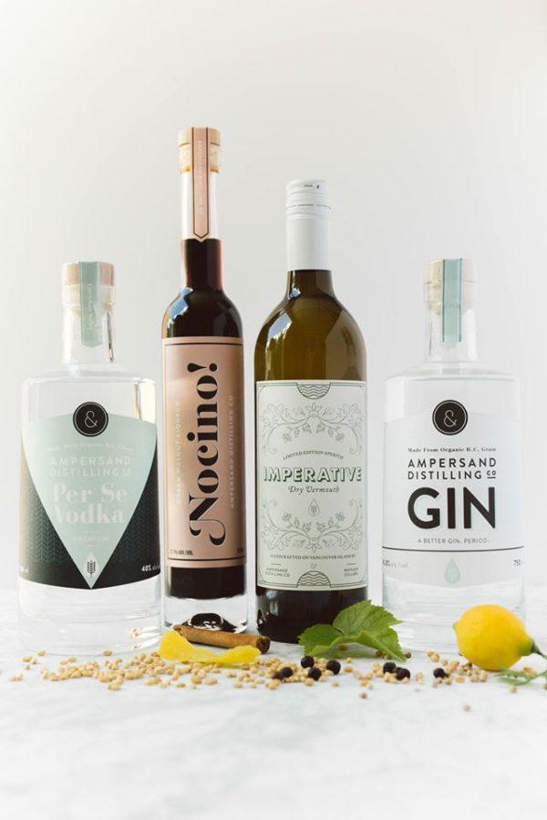 row of ampersand liquor bottles