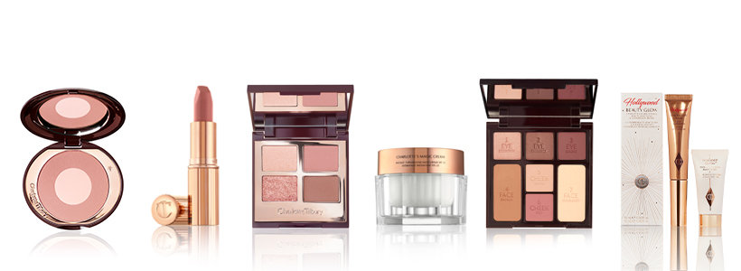 beauty products in a row
