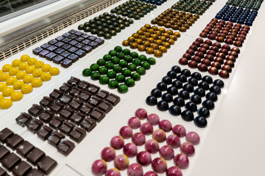 rows of colourful chocolate at beta5 in vancouver