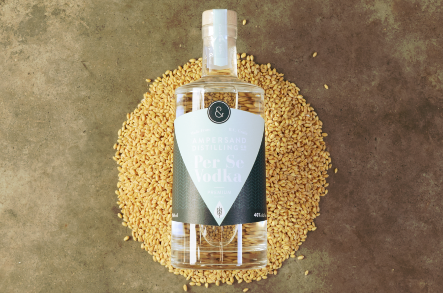 ampersand gin on bed of grain