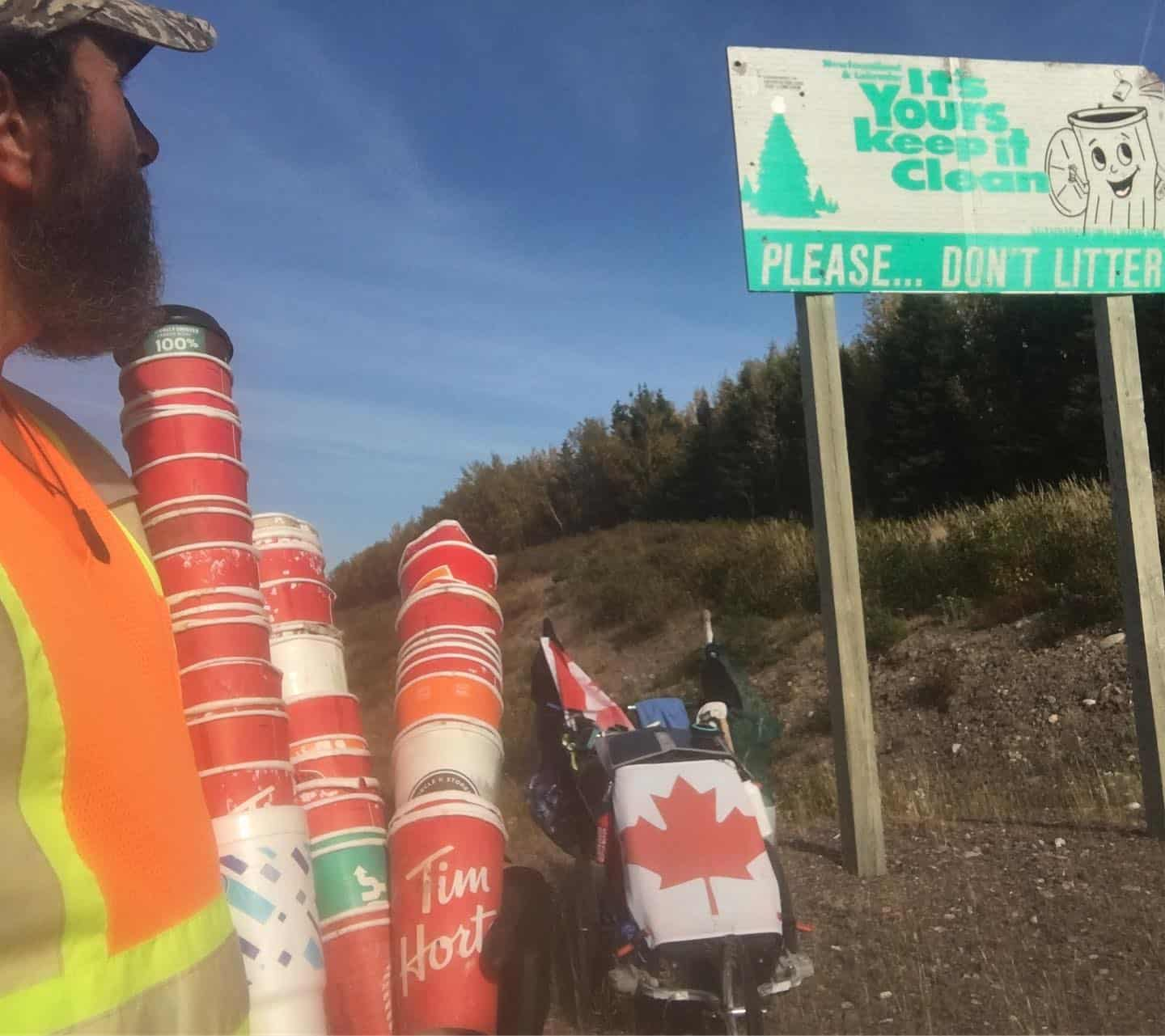 posters on the side of the road, run against plastics